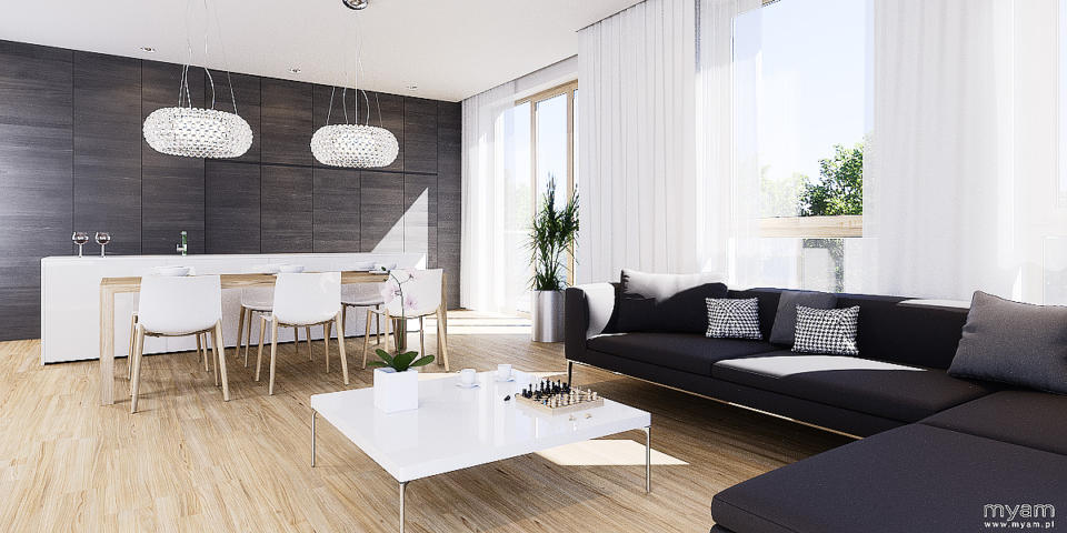 Living room with kitchen island in apartment in Poznan