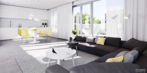 Contemporary living room in apartment in Poznan